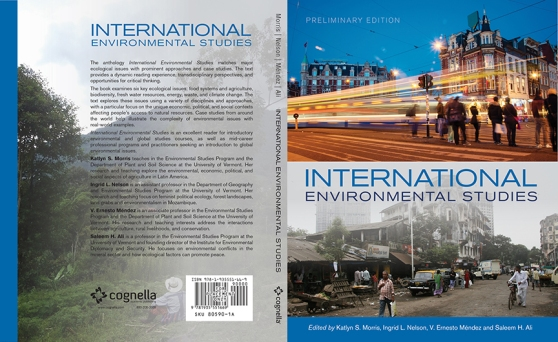 This is a thumbnail of the cover for preliminary edition of the new ENVS 002 International Environmental Studies textbook that I co-edited with Katlyn S. Morris, V. Ernesto Méndez and Saleem M. Ali. Katlyn Morris will be using this text in ENVS 002 for Spring 2014 and we will launch a revised 'First Edition' for the general public in time for Spring 2015.